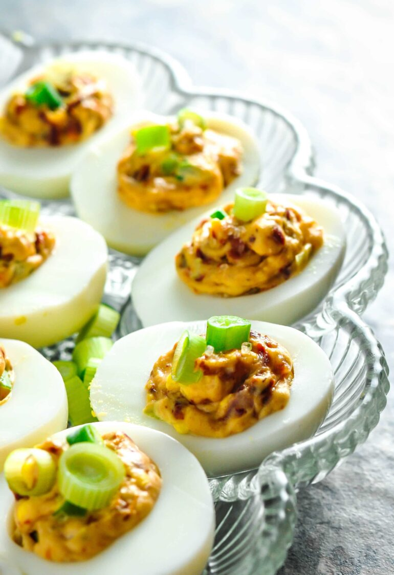 BLT Deviled Eggs Recipe #bacon #sundried #tomato #green onion #deviled #hardboiled #eggs #keto #lowcarb #ketogenic #atkins