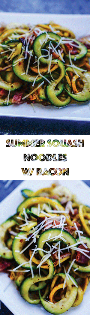 Summer Squash Noodles with Bacon Recipe - Low Carb, Keto Friendly, Gluten Free Zoodles