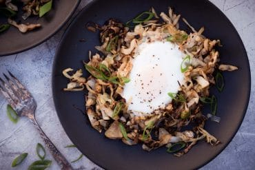Keto Breakfast Ideas - Low Carb Egg in the Nest with Braised Cabbage