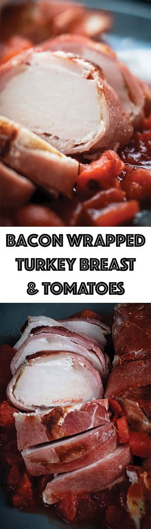 Crockpot Bacon Wrapped Turkey Breast with Tomato Recipe - Low Carb, Keto, Dairy-free, Gluten-free
