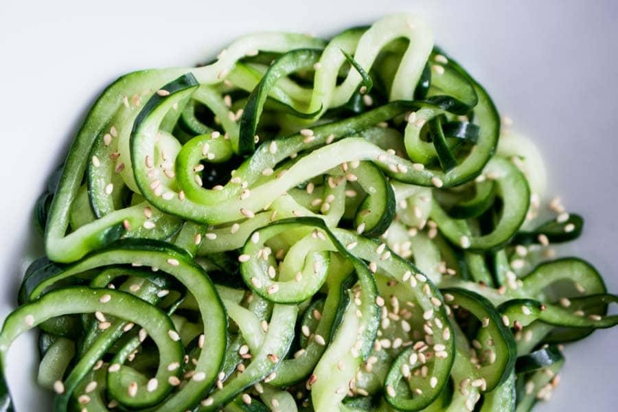 Cold Sesame Cucumber Noodle Salad [Recipe] - KETOGASM