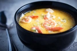 Creamy Shrimp and Vegetable Soup with Cauliflower, Broccoli, & Turnip