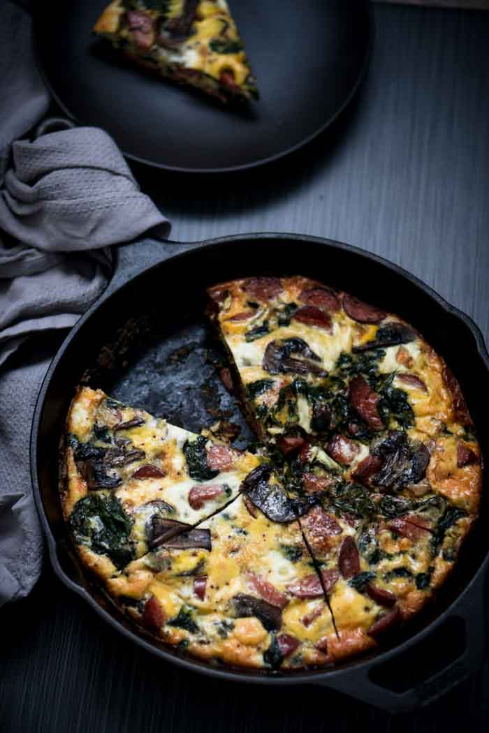 Frittata with Smoked Sausage, Spinach, and Mushrooms - Dairy Free Keto Breakfast
